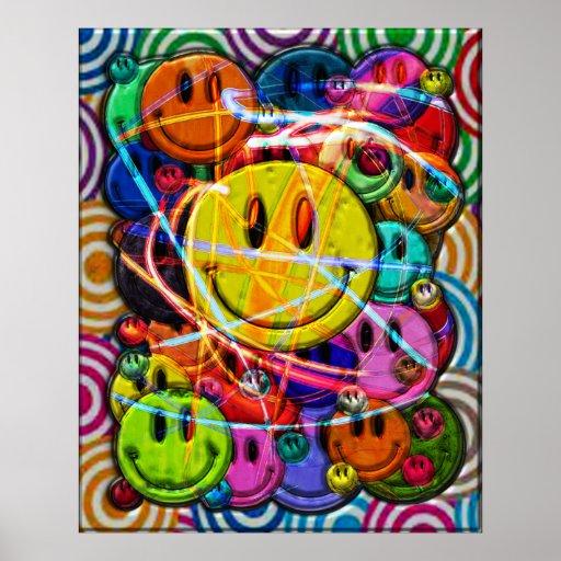 Smiley knöpft abstrakten Entwurf Plakate
