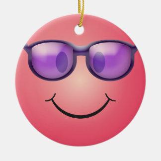 Smiley mit Gläsern Keramik Ornament