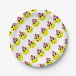 Smiley mit Kirscheontop Pappteller
