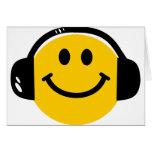 Smiley mit Kopfhörern Karten