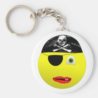 Smiley-Piraten-grundlegender runder Knopf Keychain Schlüsselanhänger