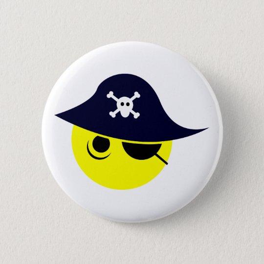 Smilie Pirat smiley pirate Runder Button 5,7 Cm