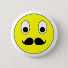 Smilie Schnurrbart smiley moustache mustache Runder Button 5,1 Cm