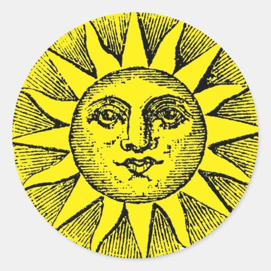 Smiling sun runder aufkleber