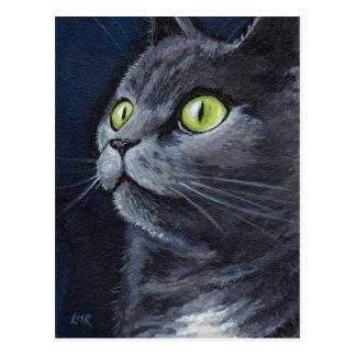 Smokey | grünes mit Augen blaues Grau-Katzen-Portr Postkarten