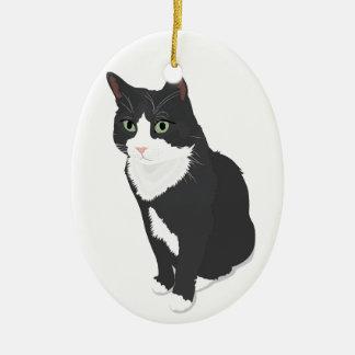 Smokings-Katze Keramik Ornament