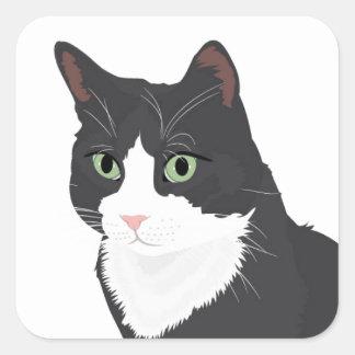 Smokings-Katze Quadratischer Aufkleber