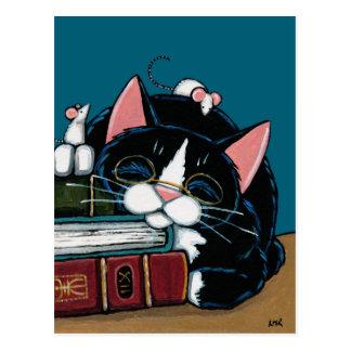 Smokings-Katze u. weiße Postkarte