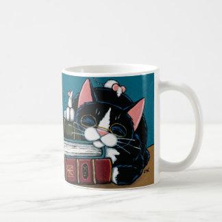 Smokings-Katze u. weiße Tasse