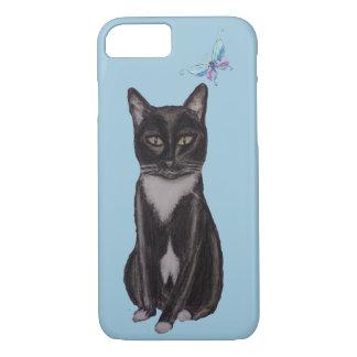 Smokings-Katze und Schmetterling iPhone 8/7 Hülle
