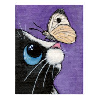 Smokings-Katze und weiße Schmetterlings-Malerei Postkarten