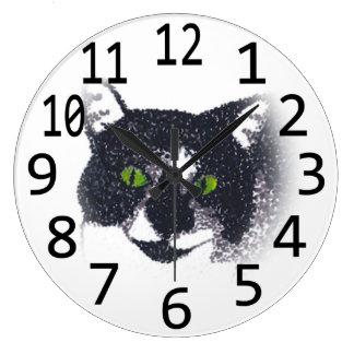 Smokings-Katzen-Gesichts-Kopfpointillism-Wanduhren Große Wanduhr