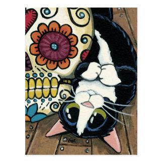 Smokings-Katzen-und Zuckerschädel-Illustration Postkarte