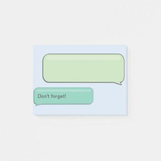 """SMS-Textnachricht """"vergessen nicht"""", die klebrige Post-it Klebezettel"""