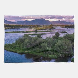 Snake River Sonnenuntergang - Schwan-Tal - Idaho Geschirrtuch
