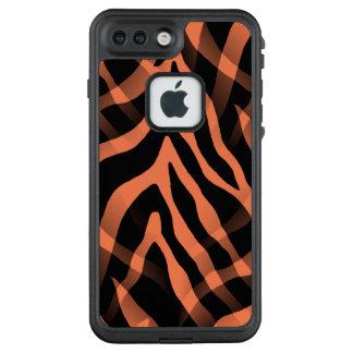 Snazzy korallenroter Zebra-Streifen-Druck LifeProof FRÄ' iPhone 8 Plus/7 Plus Hülle