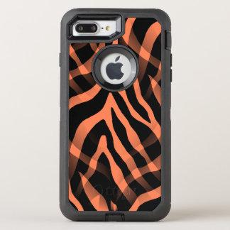Snazzy korallenroter Zebra-Streifen-Druck OtterBox Defender iPhone 8 Plus/7 Plus Hülle