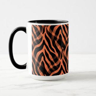Snazzy korallenroter Zebra-Streifen-Druck Tasse