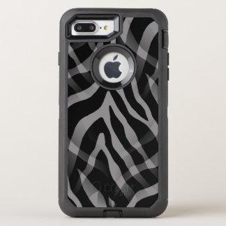 Snazzy neutraler grauer Zebra-Streifen-Druck OtterBox Defender iPhone 8 Plus/7 Plus Hülle