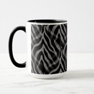 Snazzy neutraler grauer Zebra-Streifen-Druck Tasse