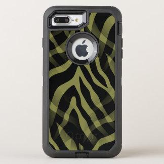 Snazzy Olivgrünzebra-Streifen-Druck OtterBox Defender iPhone 8 Plus/7 Plus Hülle