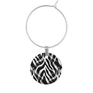 Snazzy Schwarzweiss-Zebra-Streifen-Druck Weinglas Anhänger