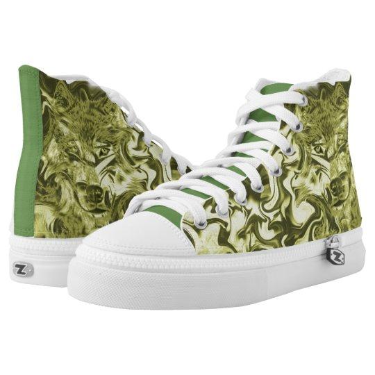#Sneakers mit Wolfsgesicht für Skater Hoch-geschnittene Sneaker