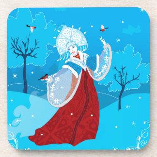Snegurochka russische Artillustration. Snowmaiden Getränkeuntersetzer