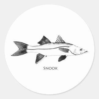 Snook-Illustration Runder Aufkleber