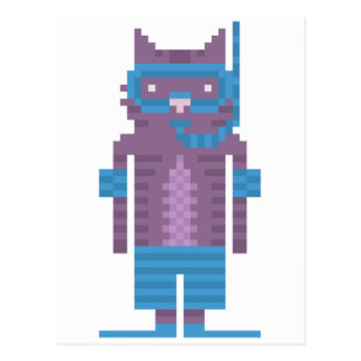 Snorkel-Schwimmer-Katzen-Pixel-Kunst-Postkarten Postkarte