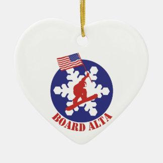Snowboard Alta Keramik Herz-Ornament