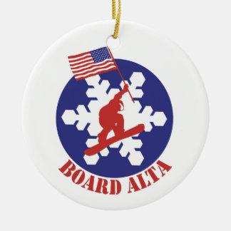 Snowboard Alta Rundes Keramik Ornament