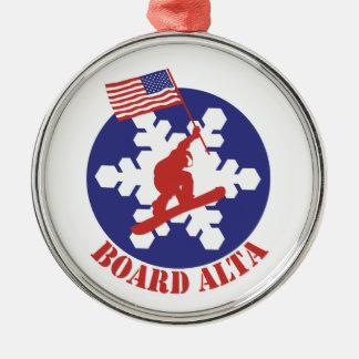 Snowboard Alta Rundes Silberfarbenes Ornament