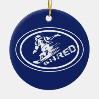 """Snowboard """"FETZEN"""" ovale Keramik Ornament"""