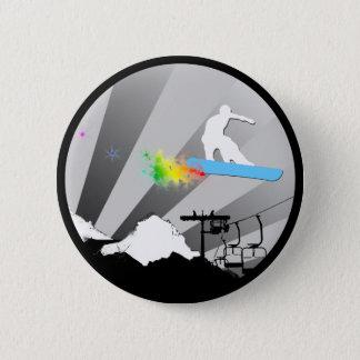 Snowboard. Pulverspur Runder Button 5,1 Cm