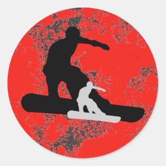 Snowboard. shadowstance. runder aufkleber