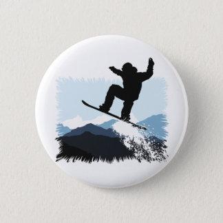 Snowboarder Action Jump Runder Button 5,1 Cm