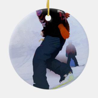 Snowboarder-Bewegungen Keramik Ornament