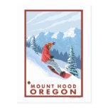 Snowboarder-Szene - Berg-Haube, Oregon Postkarte