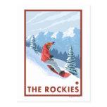 Snowboarder-Szene - die Rockies Postkarten