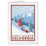 Snowboarder-Szene - Lake Tahoe, Kalifornien Grußkarte