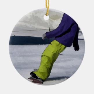 Snowboarder-Vollenden-Halt Keramik Ornament