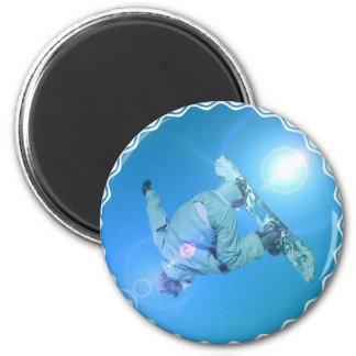 Snowboarding betrügt Bild-Magneten Runder Magnet 5,1 Cm