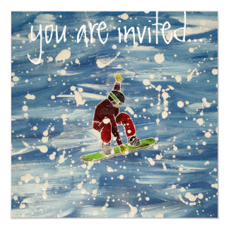 Snowboardingeinladung Quadratische 13,3 Cm Einladungskarte