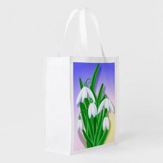 Snowdrop Blume Wiederverwendbare Einkaufstasche