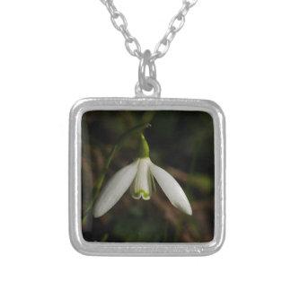 Snowdrop Blumen-Halskette Versilberte Kette