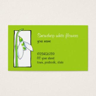Snowdrop weiße grüne Floristen-Visitenkarte Visitenkarte