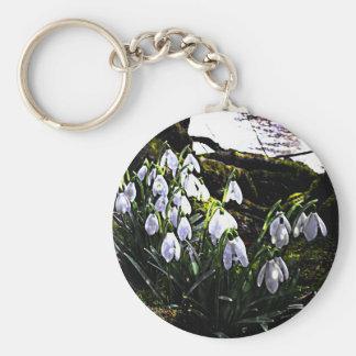 Snowdrops durch Fluss Hafren Keychain Schlüsselanhänger