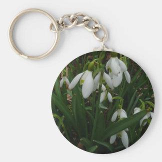 Snowdrops I (Galanthus) weiße Frühlings-Blumen Schlüsselanhänger