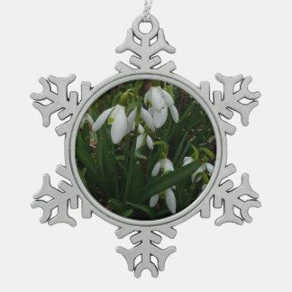 Snowdrops I (Galanthus) weiße Frühlings-Blumen Schneeflocken Zinn-Ornament